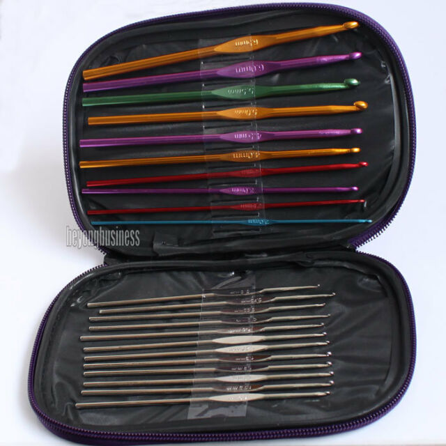 22pcs Set Multi-colour Aluminum Crochet Hooks Needles Knit Weave Craft Tool