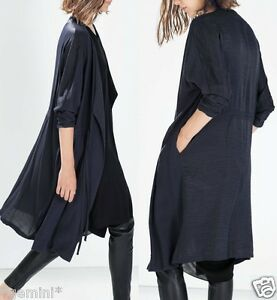 promo code deabd 87b5b Details about ZARA FLIESSENDER TRENCHCOAT SOMMERMANTEL FLOWY GATHERED  TRENCH COAT SIZE S M