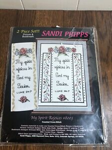SANDI PHIPPS Counted Cross Stitch Kit PICTURE & BOOKMARK My Spirit Rejoices