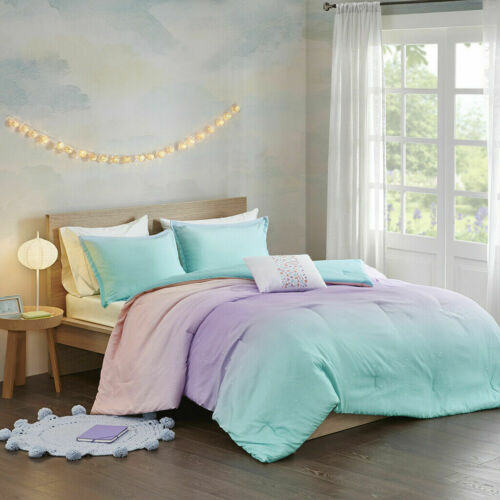 NEW! ~ COZY CHIC BLUE AQUA PINK PURPLE METALLIC NEON SPARKLE GIRLS COMFORTER SET