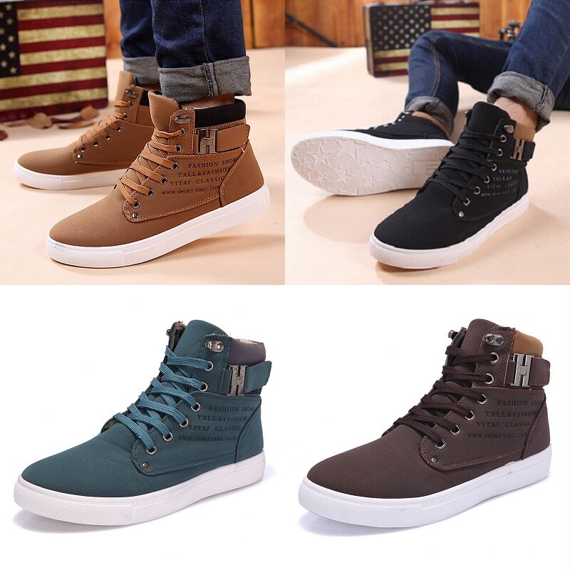 Men Autumn Winter Shoes Casual High Top Canvas Sneakers Nubuck Sapatos USST