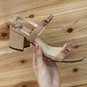 Sandalen 7 cm cm cm elegant gold glanz absatz quadrat Sandale simil leder ... 129c23