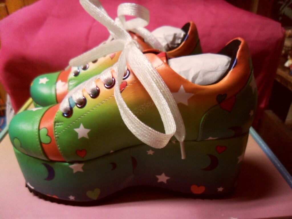 Current Mood Outta This World Moon  Stars Platform Sneakers Sz 5 RARE Rave Club