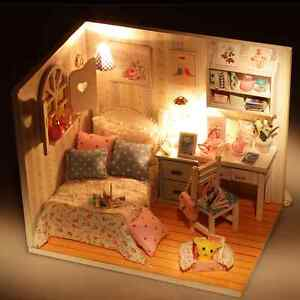 Creative-Kits-DIY-Wood-Handmade-Dollhouse-Bed-Miniature-With-LED-Furniture-cover