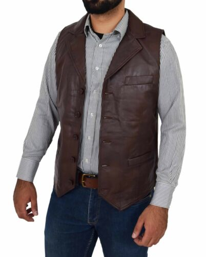 Mens Waistcoat Real Soft Brown Leather Gilet Lapel Collar Classic Western Vest