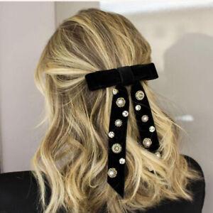 Elegant-Velvet-Pearl-Crystal-Bow-Hair-Clips-Women-Ladies-Retro-Hair-Accessories