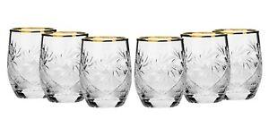 Set-of-6-Russian-24K-Gold-Trim-Shot-Glasses-1-5-oz-Vodka-Shooter-Glassware