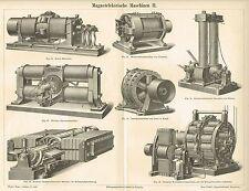 Tafel ELEKTRIK / ELEKTROMOTOR / DYNAMO / SIEMENS 1888 Original-Holzstich