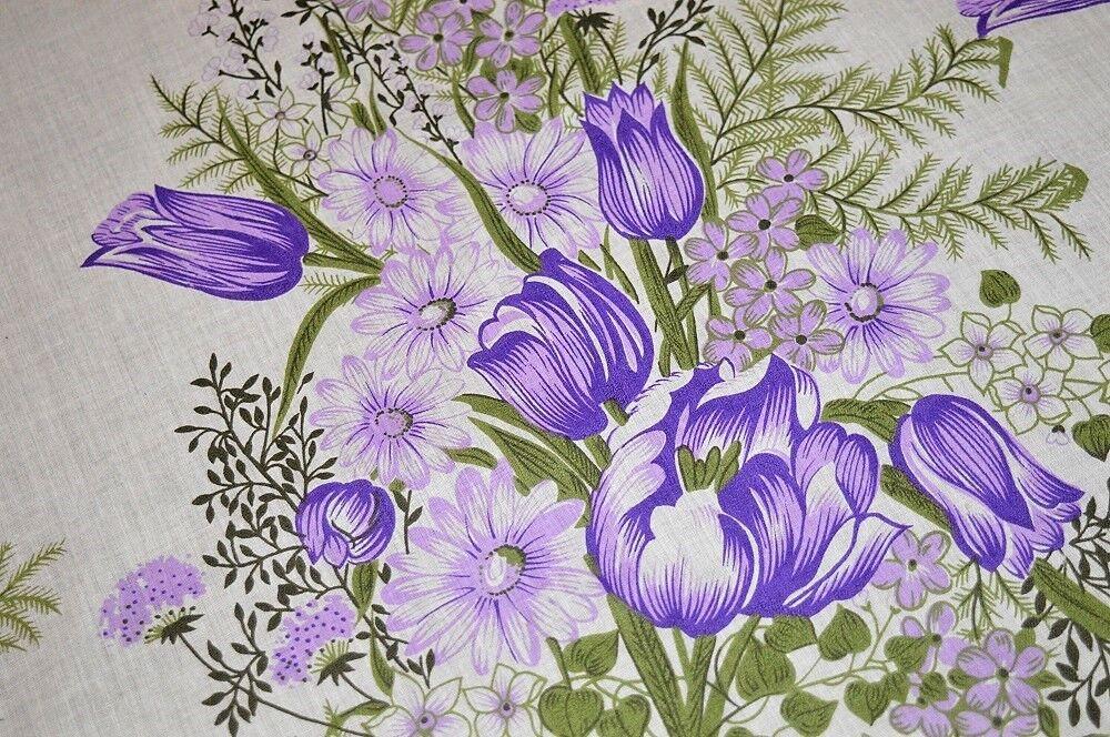 violet SPRING FANTASY GARDEN OF TULIPS & DAISY  VTG GERMAN PRINT LRG TABLECLOTH