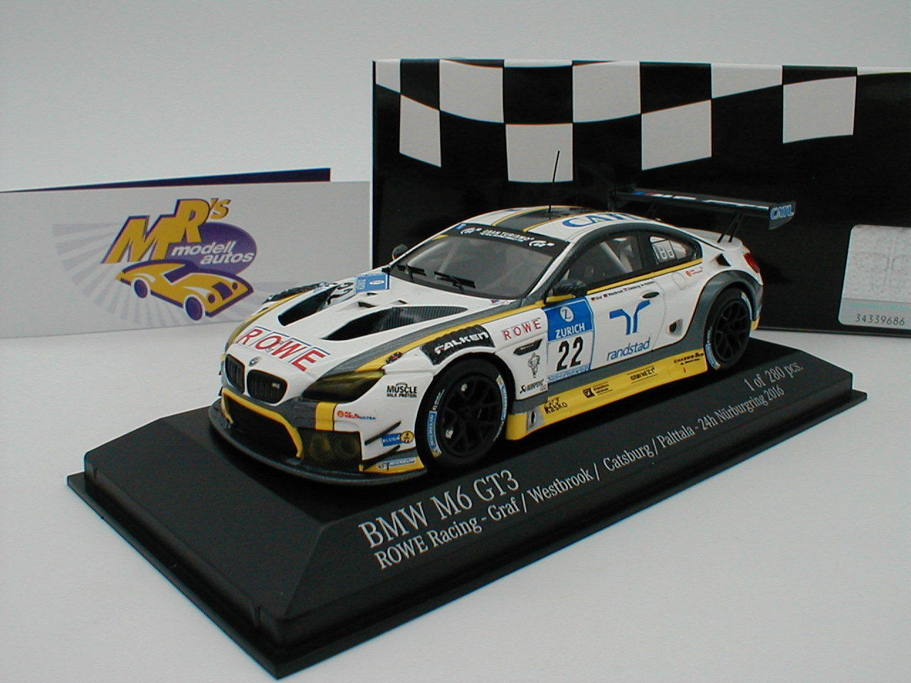 Minichamps 437162622 - BMW M6 GT3 ROWE Race 24h. Nürburgring  2016 No.22 1 43  | Modisch
