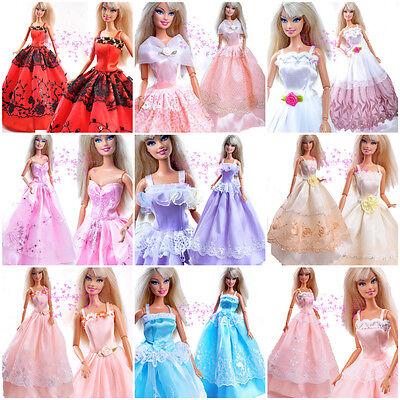 Packen: 5 Barbie Hochzeit Puppe Kleidung Dress Kleider + 10 Paar Schuhe shoes