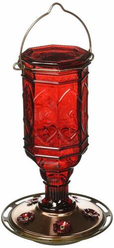 More Birds Hummingbird Feeder Vintage Red Antique Glass Bottle 23-Ounce Humming