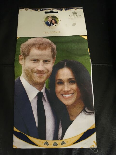 Megan And Harry Wedding.Royal Heritage Hrh Harry And Megan Markle Wedding Tea Towel Wall Decoration