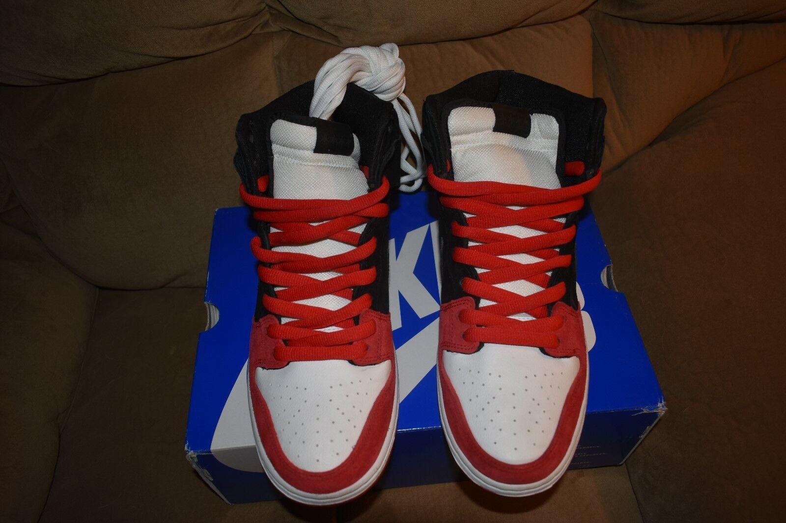 Nike Dunk High Premium SB UPRISE CHICAGO BLACK WHITE RED TOE 313171-061 SZ 11