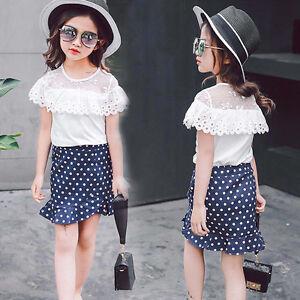 Toddler Kids Baby Girls T-Shirt Tops + Polka Dot Short Skirt Outfit ... 2806f5880
