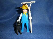Playmobil 3501Bauer Farmer mit Hund und Harke Klicky Figur alt top unbespielt