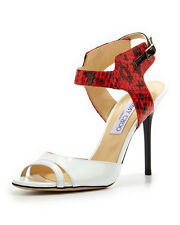 Jimmy Choo Marcia Snake Pattern Ankle Wrap Shoe Heels White/Flame Size 39 1/2