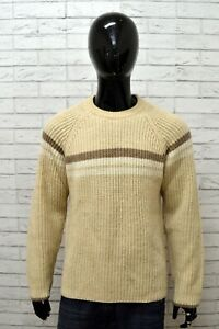 Maglione-AVIREX-Uomo-Taglia-Size-M-Maglia-Pullover-Sweater-Cardigan-Lana-Beige