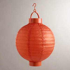 battery powered orange hanging paper lantern home garden decor