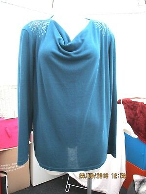 """""""afibel"""" Donna Turchese Blu Pullover Con Cappuccio Collo Sz 22 Nuovi-mostra Il Titolo Originale"""