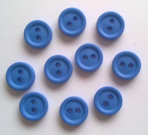 10 X 12 mm Azul Botones Redondos de Plástico-C1016