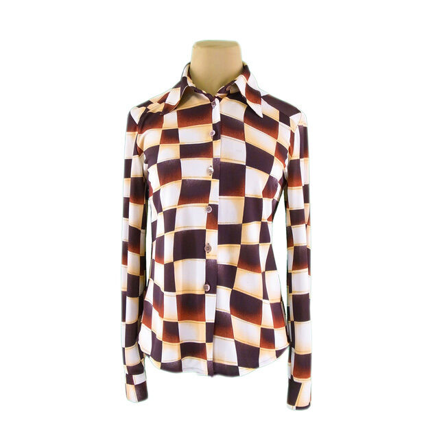 Valentino Shirts Beige Brown Woman Authentic Used G1221