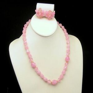 WEST-GERMANY-Pink-Twisted-Acrylic-Beads-Necklace-Earrings-Set-Vintage-Pretty