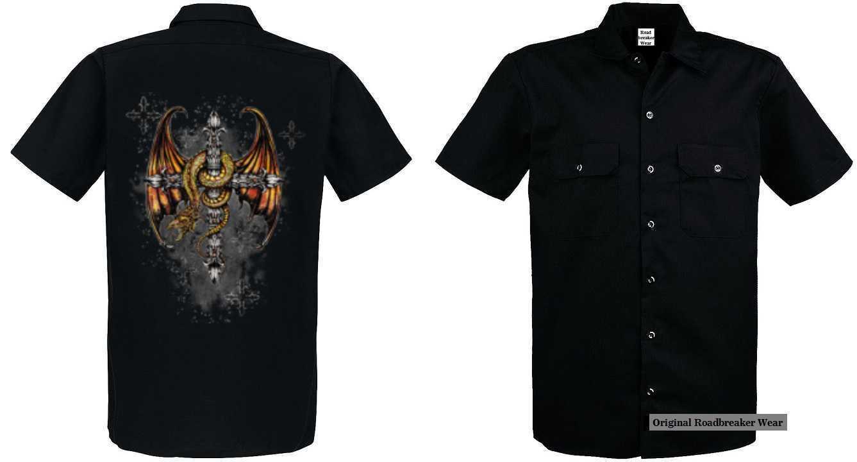 Maglietta Worker con un Tattoo Fantasia Gotica Modello Modello Dragon Cross