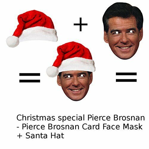 Pierce Brosnan Card Face Mask with a Santa Hat NEW