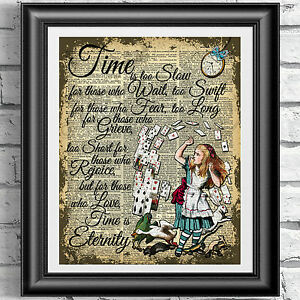 Original-ART-Print-DICTIONARY-ANTIQUE-BOOK-PAGE-Alice-in-Wonderland-Upcycled