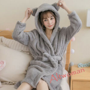 d0592e5ee07e Hot Women s Winter Warm Pajamas Hooded Nightgown Coral Velvet ...