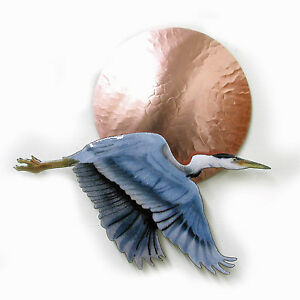 Image Is Loading Wall Art Flying Blue Heron At Sunset Metal