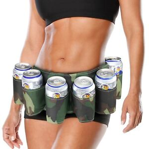 GéNéReuse Bière Ceinture Six Pack Camouflage Party Stag Do Drinking Game Peut & Porte-bouteille Support Uk-afficher Le Titre D'origine Dans La Douleur