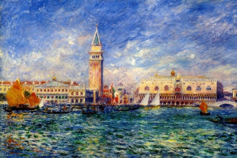 DOGE'S PALACE VENICE ITALY ITALIA 1881 PAINTING BY PIERRE AUGUSTE REschwarz REPRO