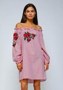 e8c0e5f831f3f Image is loading Plus-Velzera-Striped-Pink-Off-Shoulder-Embriodered-Floral-