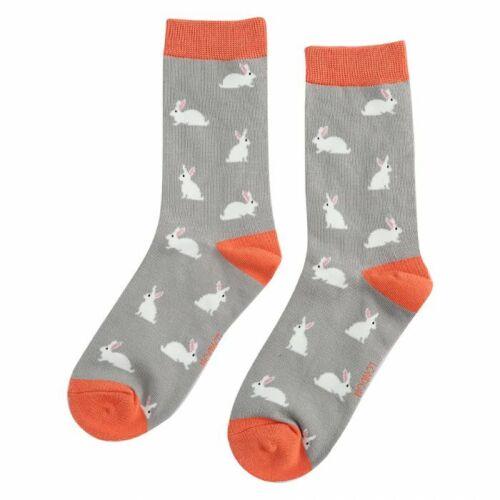 Ladies Rabbits Design Bamboo Socks Grey Novelty Miss Sparrow 4-7