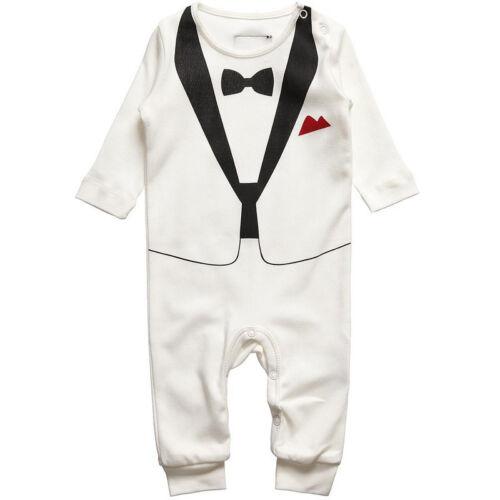 Newborn Boys Gentleman Romper Jumpsuit First 1st Birthday Party Bodysuit Outfits
