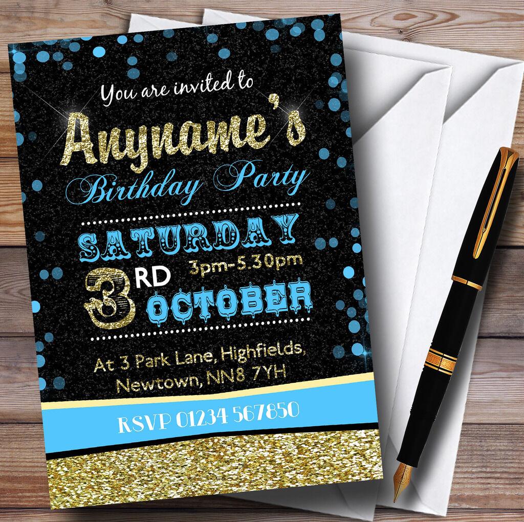 LOOK Glitter Blu Cielo e oro Festa di Compleanno Inviti Personalizzati