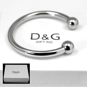 """DG Men/'s Women/'s 7/"""" Silver Stainless Steel,Cuff Bracelet Unisex Box"""