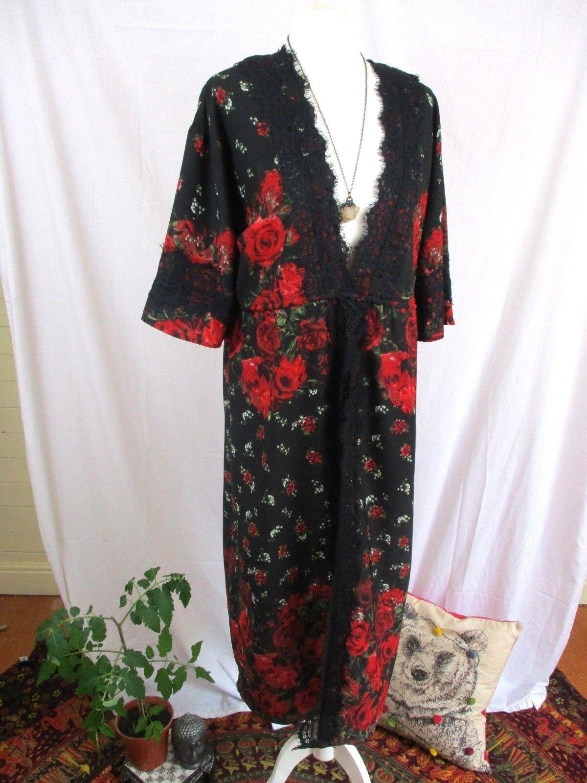 River Island Boho Hippie Red pinks Lace open front Festival Kimono