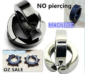 Man-Hoop-Magnetic-Stainless-Titanium-Fake-Earrings-clip-on-no-ear-piercing-hole