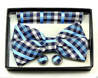 Blue Checks Mens Bow Tie Tuxedo Wedding Fashion Banded Hanky Cufflinks Set New