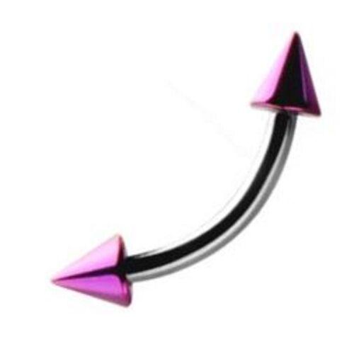 Piercing Arcade 1,2 mm 6 longueurs de tiges en acier 316 L spikes Mauve