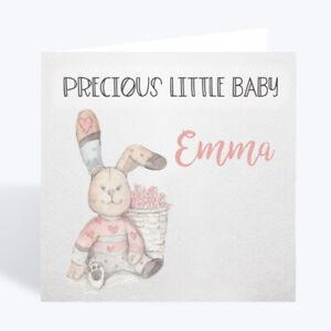 Personalised New Baby Girl Card Rabbit Keepsake Gift Card Uk Ebay