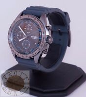 Mens's Fossil Watch, Chronograph Sport 54 Gray Silicone Strap Watch CH3063, New