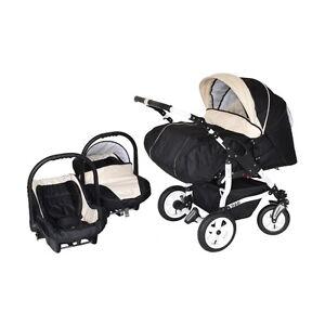 Zwillingskinderwagen mit babyschale  Adbor Duo 3in1 Zwillingskinderwagen mit Babyschalen - weißes Gestell ...