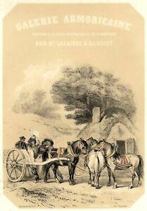 Galerie-Armoricaine-Chevaux-Attelage-Bretagne-Hippolyte-Lalaisse-Lithographie