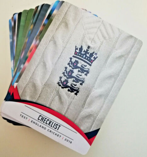 Inglaterra estamos Cricket 2018 Base Completa Set 1-100 Trading Cards Tap n Play