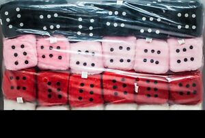 12-Soft-Fuzzy-Novelty-Dice-White-Black-Pink-Red-Each-Die-3-034-Cubed-Las-Vegas