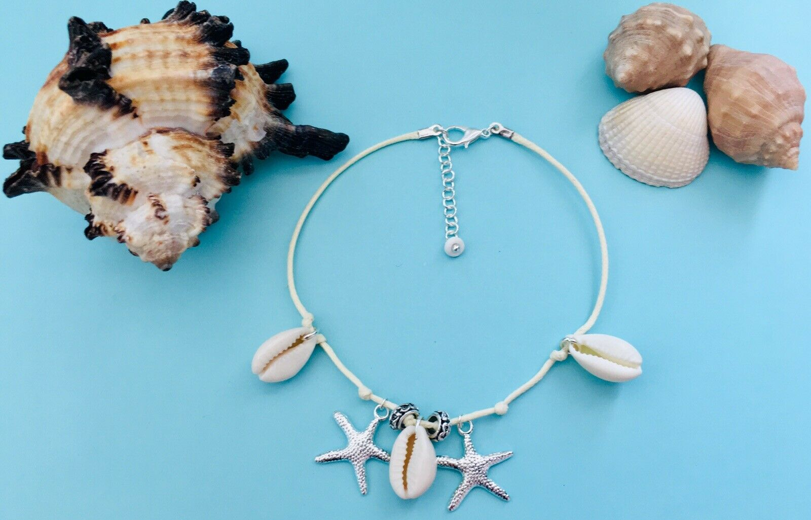 Sea Shells Star Charms Ivory Waxed Cotton Cord String Thread Anklet